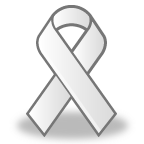 This white awareness ribbon is worn to raise consciousness of violence against women.